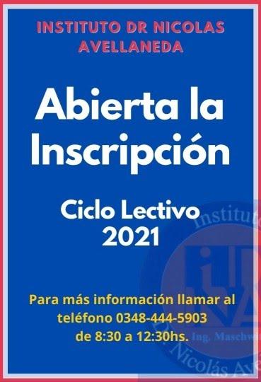 Inscripciones Ciclo Lectivo 2021